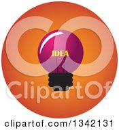 Clipart Of A Round Pink And Orange Idea Light Bulb Button App Icon Design Element Royalty Free Vector Illustration