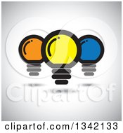 Clipart Of Yellow Orange And Blue Light Bulbs Over Shading Royalty Free Vector Illustration