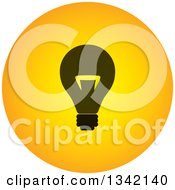 Clipart Of A Round Black And Yellow Light Bulb Button App Icon Design Element Royalty Free Vector Illustration