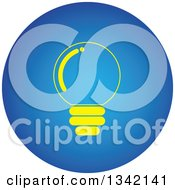 Clipart Of A Round Yellow And Blue Light Bulb Button App Icon Design Element Royalty Free Vector Illustration