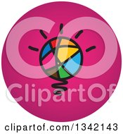 Clipart Of A Round Pink And Abstract Light Bulb Button App Icon Design Element Royalty Free Vector Illustration
