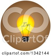 Clipart Of A Round Yellow And Brown Idea Light Bulb Button App Icon Design Element Royalty Free Vector Illustration
