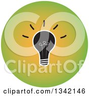 Clipart Of A Round Green Light Bulb Button App Icon Design Element Royalty Free Vector Illustration