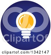 Clipart Of A Round Yellow White And Blue Light Bulb Button App Icon Design Element Royalty Free Vector Illustration