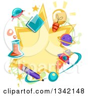 Clipart Of A Science Star Burst Frame Bordered In Related Items Royalty Free Vector Illustration by BNP Design Studio