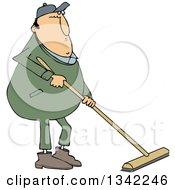 Cartoon Chubby Caucasian Worker Man Using A Push Broom