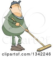 Clipart Of A Cartoon Chubby Caucasian Worker Man Using A Push Broom Royalty Free Vector Illustration