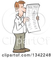 Clipart Of A Cartoon White Man Reading Articles In The Newspaper Royalty Free Vector Illustration