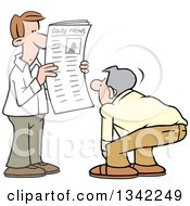 Cartoon White Man Reading Articles In The Newspaper Another Man Reading The Front