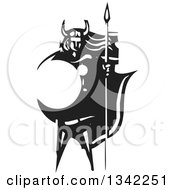 Clipart Of A Black And White Woodcut Viking Warrior With Long Hair Standing With A Sword And Shield Royalty Free Vector Illustration by xunantunich