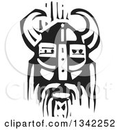 Clipart Of A Black And White Woodcut Viking Face In A Horned Helmet Royalty Free Vector Illustration