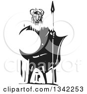 Clipart Of A Black And White Woodcut Viking Warrior Standing With A Sword And Shield Royalty Free Vector Illustration