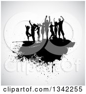 Clipart Of A Group Of Black Silhouetted Dancers On A Grunge Splatter Over Off White Royalty Free Vector Illustration