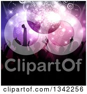 Clipart Of A Crowd Of Silhouetted Dancers Under A Pink And Purple Disco Ball Circles And Lights Royalty Free Vector Illustration by KJ Pargeter