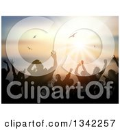 Clipart Of A Silhouetted Crowd Dancing Over An Ocean Sunset With Seagulls Royalty Free Vector Illustration