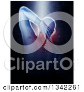 Clipart Of A 3d Rear View Of A Medical Anatomical Male Reaching Back With Visible Muscles On Black With Light Shining Down Royalty Free Illustration