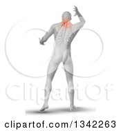 Clipart Of A 3d Rear View Of A Medical Anatomical Male Reaching Back With Visible Paintful Neck Vertebrae And Upper Skeleton On White Royalty Free Illustration