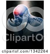 Clipart Of A 3d Xray Anatomical Man With Visible Spine And Head Pain Over Black With Light Shining Down Royalty Free Illustration by KJ Pargeter