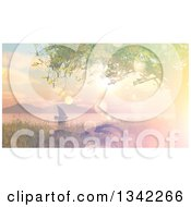 Clipart Of A 3d Sailboat At Sunset On A Lake Or River With Retro Flare Effect Royalty Free Illustration by KJ Pargeter
