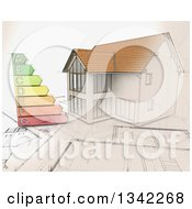 Clipart Of A Partial Sketched Partial 3d Custom Home On Blueprints With An Energy Rating Chart Royalty Free Illustration