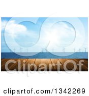 Clipart Of A 3d Wood Table With A Blurred View Of A Wind Farm In The Ocean Royalty Free Illustration