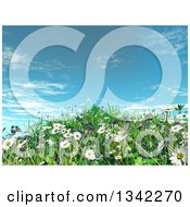 Clipart Of A 3d Grassy Hill With Daisies And Grass Against Blue Sky Royalty Free Illustration