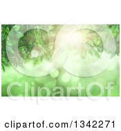 Clipart Of A Background Of 3d Leaves Bright Light And Flares On Green Royalty Free Illustration by KJ Pargeter