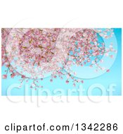 Clipart Of A Background Of Painted Cherry Blossoms Over Blue Sky Royalty Free Illustration by KJ Pargeter