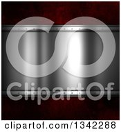 Clipart Of A Shiny Metal Plaque Over Red Royalty Free Illustration