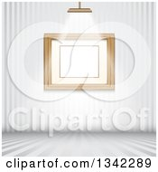 Clipart Of A Feature Light Shining On A Blank Frame On A Wall Over Striped Floors Royalty Free Vector Illustration