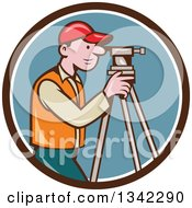 Retro Cartoon White Male Surveyor Using A Theodolite In A Brown White And Blue Circle