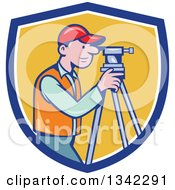 Retro Cartoon White Male Surveyor Using A Theodolite In A Blue White And Yellow Shield