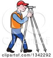 Retro Cartoon White Male Surveyor Using A Theodolite