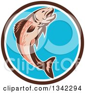 Clipart Of A Retro Trout Fish Jumping In A Brown White And Blue Circle Royalty Free Vector Illustration by patrimonio