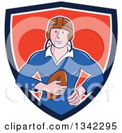 Clipart Of A Retro Cartoon White Male Rugby Player Holding The Ball In A Blue White And Red Shield Royalty Free Vector Illustration