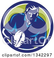 Retro Male Rugby Player With The Ball Inside A Blue White And Green Circle