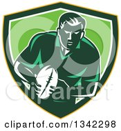 Clipart Of A Retro Male Rugby Player With The Ball Inside A Yellow Green And White Shield Royalty Free Vector Illustration by patrimonio