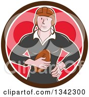 Clipart Of A Retro Cartoon White Male Rugby Player Holding The Ball In A Brown White And Red Circle Royalty Free Vector Illustration