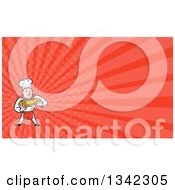 Clipart Of A Cartoon Caucasian Male Chef Baker Holding A Loaf Of Bread And Red Rays Background Or Business Card Design Royalty Free Illustration by patrimonio