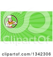 Clipart Of A Cartoon Caucasian Male Chef Baker Holding A Loaf Of Bread In A Circle And Green Rays Background Or Business Card Design Royalty Free Illustration by patrimonio