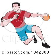 Clipart Of A Retro Cartoon Male Handball Player In Action Royalty Free Vector Illustration