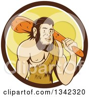 Clipart Of A Cartoon Caveman Holding A Club Over His Shoulder In A Brown White And Yellow Circle Royalty Free Vector Illustration by patrimonio