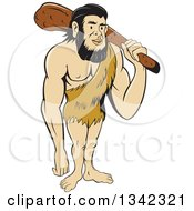 Clipart Of A Cartoon Caveman Holding A Club Over His Shoulder Royalty Free Vector Illustration