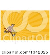 Clipart Of A Cartoon White Male Plumber Running And Carrying A Monkey Wrench And Tool Box And Yellow Rays Background Or Business Card Design Royalty Free Illustration