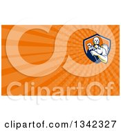 Retro Male Plumber Holding A Monkey Wrench In Front Of A Tank And Orange Rays Background Or Business Card Design