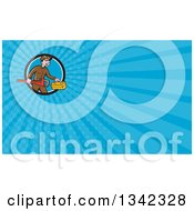 Clipart Of A Cartoon White Male Plumber Carrying A Monkey Wrench And Tool Box In A Circle And Blue Rays Background Or Business Card Design Royalty Free Illustration