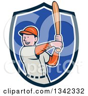 Clipart Of A Cartoon White Male Baseball Player Athlete Batting In A Blue And White Shield Royalty Free Vector Illustration by patrimonio