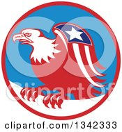 Clipart Of A Retro Cartoon American Bald Eagle With A Patriotic Wing In A Red Blue And White Circle Royalty Free Vector Illustration