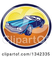 Clipart Of A Retro Blue American Muscle Car In A Navy Blue White And Sunset Ray Oval Royalty Free Vector Illustration