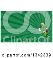 Clipart Of A Cartoon White Male Football Receiver And Green Rays Background Or Business Card Design Royalty Free Illustration